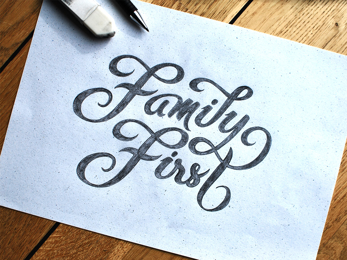 Hand Lettering Family First Sketch 1